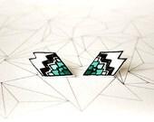 Geometric Mint Stud Earrings Hand Painted Polymer Clay Earrings