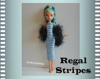 Monster H NEF Doll Clothes - Custom Handmade Fashion Dress Black Boa and Jewlery Set - by dolls4emma