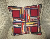 Rug Hooked Patchwork Pillow