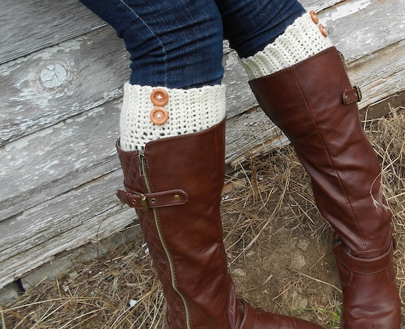 Ivory Boot Cuff with Wooden Buttons - Crocheted Cream Boot Sock with Elastic Bands - Legwear - Choose Your Color - Nine Color Choices