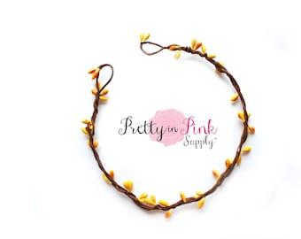 Yellow/Beaded Twig Crown Wreath-DIY Floral Crown- Flower Crown- Unfinished Crown-Bridal Crown-Twig Crown-Flower Girl Crown- DIY Wedding