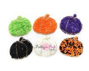 Shabby Flower Rosette Pumkins...Choose Quantity....Rosette Pumpkin...Chiffon Pumpkin...Halloween...Applique...Orange...Black