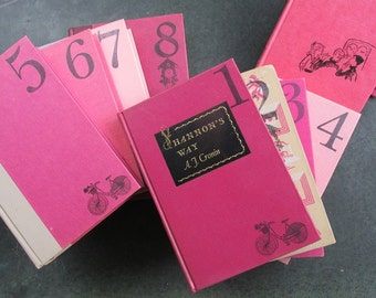 Wedding Table Numbers Vintage Books Wedding Decor Maroon Candy Pink and Rose Collection of 12