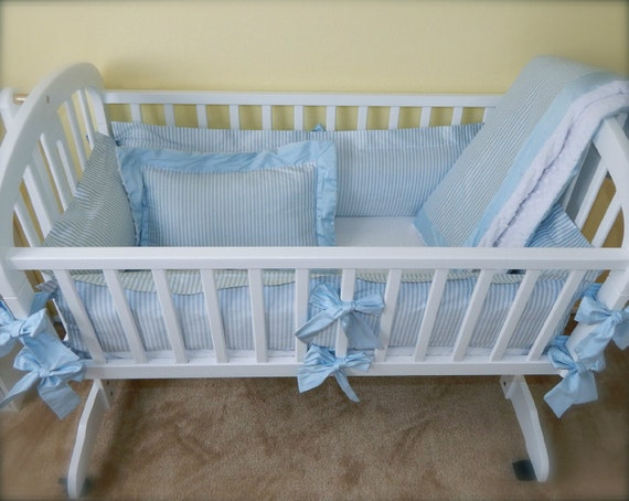 Blue and White Stripe Dupioni Silk Cradle Bedding Set Custom
