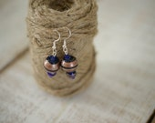 ON SALE - Jewelry Closeout Sale - Bronze and Royal Blue Beaded Earrings - Handmade Silver Drop Earrings - Beaded Earrings
