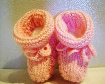 Knitted soft pink baby yarn booties with crocheted ties - baby shower gift - baby booties - pink booties - baby girl booties - baby girl