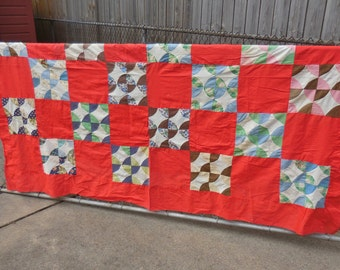 Vintage Feedsack Quilt Top Circles Red