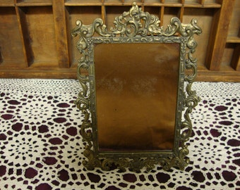 Ornate Brass Mirror with Easel Back