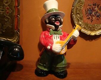 Black Minstrel Whiskey Decanter Banjo Player