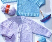 Sale! Knitting pattern Peter Pan P971 babies childrens V neck sweater and cardigan