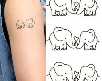 Black Temporary Tattoos Body Art Transfers Tatts Flash elephants love TT431