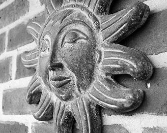 Terracotta Sunshine Face, Fine Art Photograph, Black and White, Brick Wall, Sun, Texture, Summer