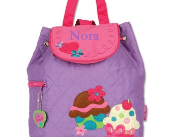 Stephen Joseph Cupcake Backpack - Monogrammed Purple and Pink Toddler Backpack by Stephen Joseph