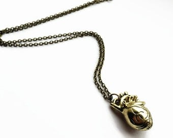 Vintage Gold Anatomical Heart Necklace