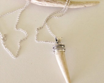 Seriperi Antler Necklace, Uniquely detailed, hand crafted sterling silver, long necklace with real deer antler tip pendant