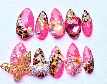 Pink Glitter Leopard Butterfly Fierce Mermaid Kawaii Gyaru Nails