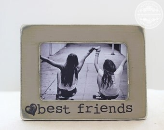Best Friend Picture Frame GIFT Custom Rustic Distressed Picture Frame for Best Friends Sisters Brothers Cousins