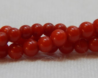 2mm Round Red Coral Beads