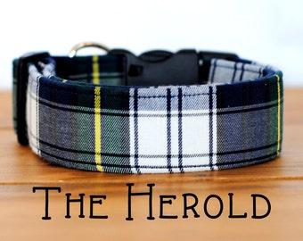 "Navy, Green, Yellow & White Plaid Dog Collar ""The Herold"""