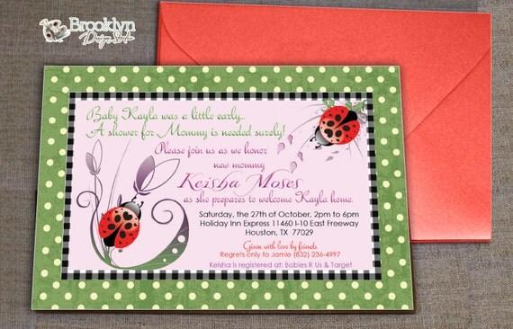 Polka Dots and Ladybugs Baby Shower Invitation - Ladybug Design - green, black, pink and red - Digital File
