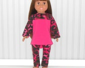 Hot Pink Leopard Spots Hi Low Top and Leggings fit 18 inch Girl Dolls American Doll Clothes