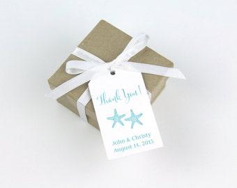 Wedding Favor Tag - Starfish Wedding Tag - Beach Wedding Tag - Destination Wedding - Starfish Thank You Tags - Custom Tags - SMALL