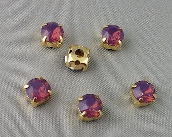 6mm Cyclamen Opal  Chaton Montees, Set of 6, 1028, Sew On Purple Rhinestones, SS29, Choice of Settings, Sew On Chatons