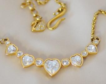 Swarovski Hearts Necklace Gold Tone