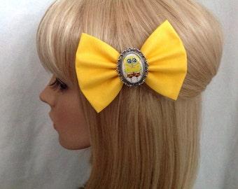 SpongeBob hair bow clip rockabilly psychobilly kawaii pin up fabric yellow cute Patrick star squarepants squidward ladies girls women