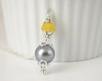 Grey and Yellow Bridesmaid Jewellery, Bridesmaid Necklaces, Pearl Bridal Sets, Bridal Party Gifts Yellow Grey Wedding Crystal Drop Jewellery