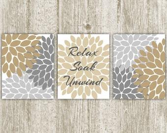 Relax Soak Unwind Print, Brown Gray Bathroom Printable, 8x10, Set of 3, Instant Download, Flower Bursts Wall Decor, Bathroom Wall Art