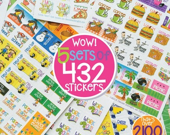 """2100+ Mini Planner Stickers to stylize any planner or calendar. Great gift for Mom! Size 3/4"""" x 3/4"""" [5 pks of 432 stickers] [Item #2001]"""