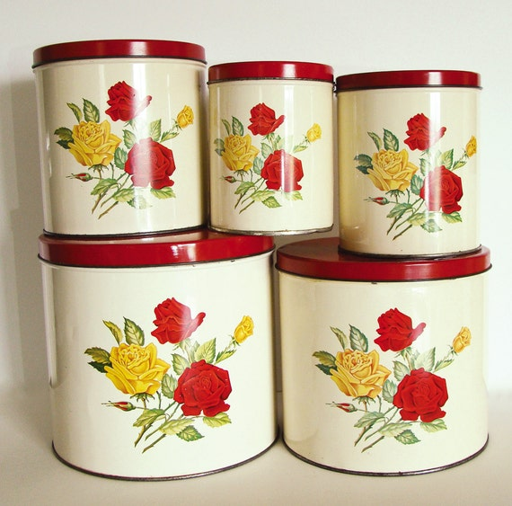 Red And Yellow Kitchen: Vintage Canister Set Red And Yellow Roses By G.S.W. General
