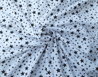 Black Star on White Fabric Cotton Spandex Jersey Knit Print by the Yard