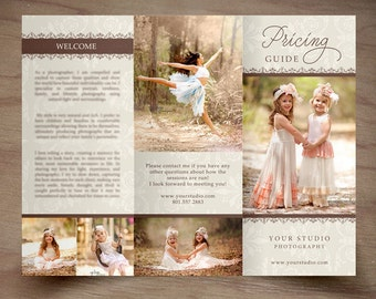 Photography Trifold Brochure Template -Elegant- Client Welcome Guide - Flyer- Photography Pricing Guide - Price List -INSTANT DOWNLOAD ID243