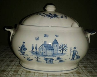 Vintage Ceramic Soup Taureen Farmhouse Scene - Made in Japan