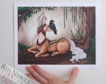 8.5x11 Centaur Shamaness Art Print, Female Centaur with Raven Familiar, Palomino Centaur Wall Art, White Hair, White Mane, Fantasy Artwork
