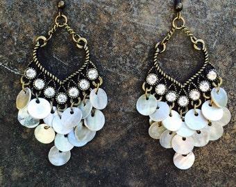 Chandelier Shell Earrings -  Rhinestone Chandelier Earrings - Vintage Inspired Chandelier Earrings - Statement Earrings