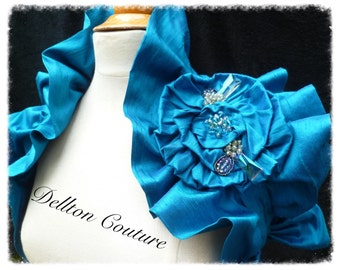 Turquoise Silk Romantic Bridal Wrap Ruffled Shrug with Crystal Bead Trim. Extra Large