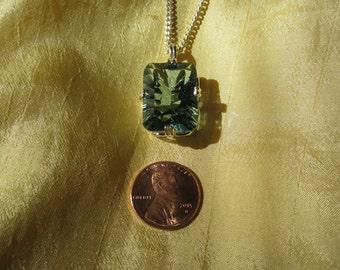 Large Blue/Green Concave Cut Amethyst Pendant