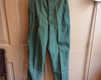 Vintage 1960s/70s US Army OG-107 Cotton Sateen Pants. Size 32x34 #3 1099