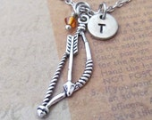 Bow and Arrow  Charm Necklace, Personalized Antique Silver Hand Stamped Initial Birthstone Bow and Arrow Charm Necklace