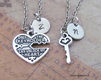 Key To My Heart Couple Charm Necklace, Personalized Antique Silver Hand Stamped Initial Only Keyholder Can Unlock My Heart Necklace Set