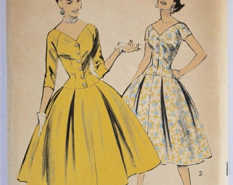 Vintage Sewing Pattern 1950s Women's Full Skirt Long Line Bodice Dress Sewing Pattern Size 14 Bust 32 Advance 7793