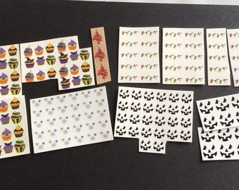 HUGE LOT of (178) Holiday Halloween Christmas Decals - Nail Art Tattoo