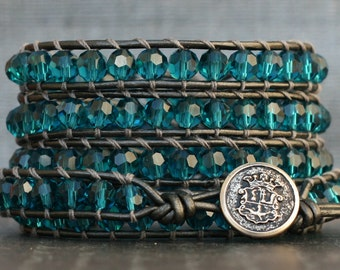 READY TO SHIP wrap bracelet- teal crystals on pewter leather - boho glam bohemian gypsy - aqua blue aquamarine