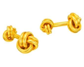 14Kt Yellow Gold Plated Knot Cufflinks