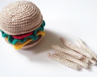 UK SELLER Crochet Pretend Play Food Burger and Fries - Soft Toy