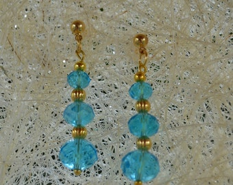 Aqua Blue Crystal Earrings Blue and Gold Ball Earrings Post Earrings