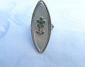Vintage Zuni Ring Sterling Turquoise Mother of Pearl